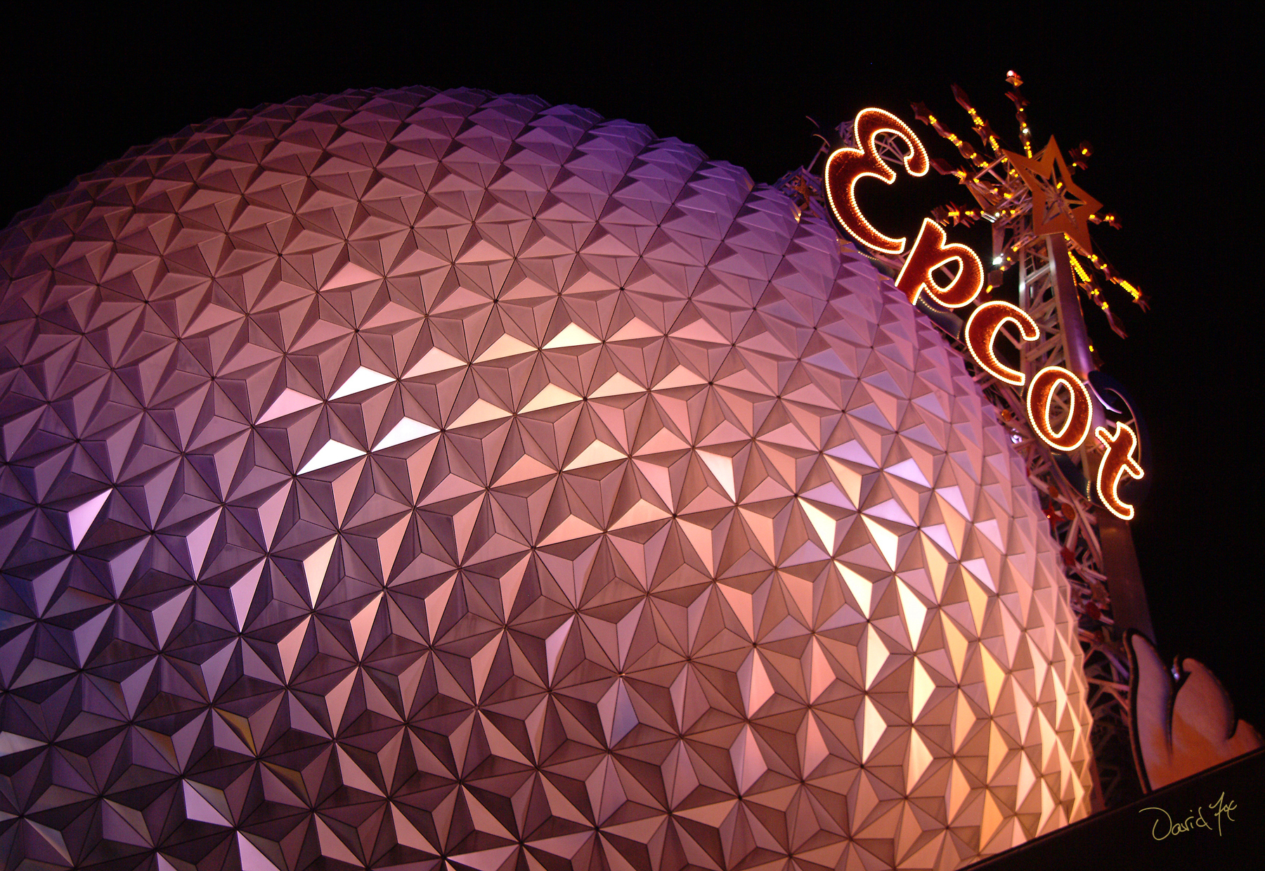 Epcot Dome at Night Disney World