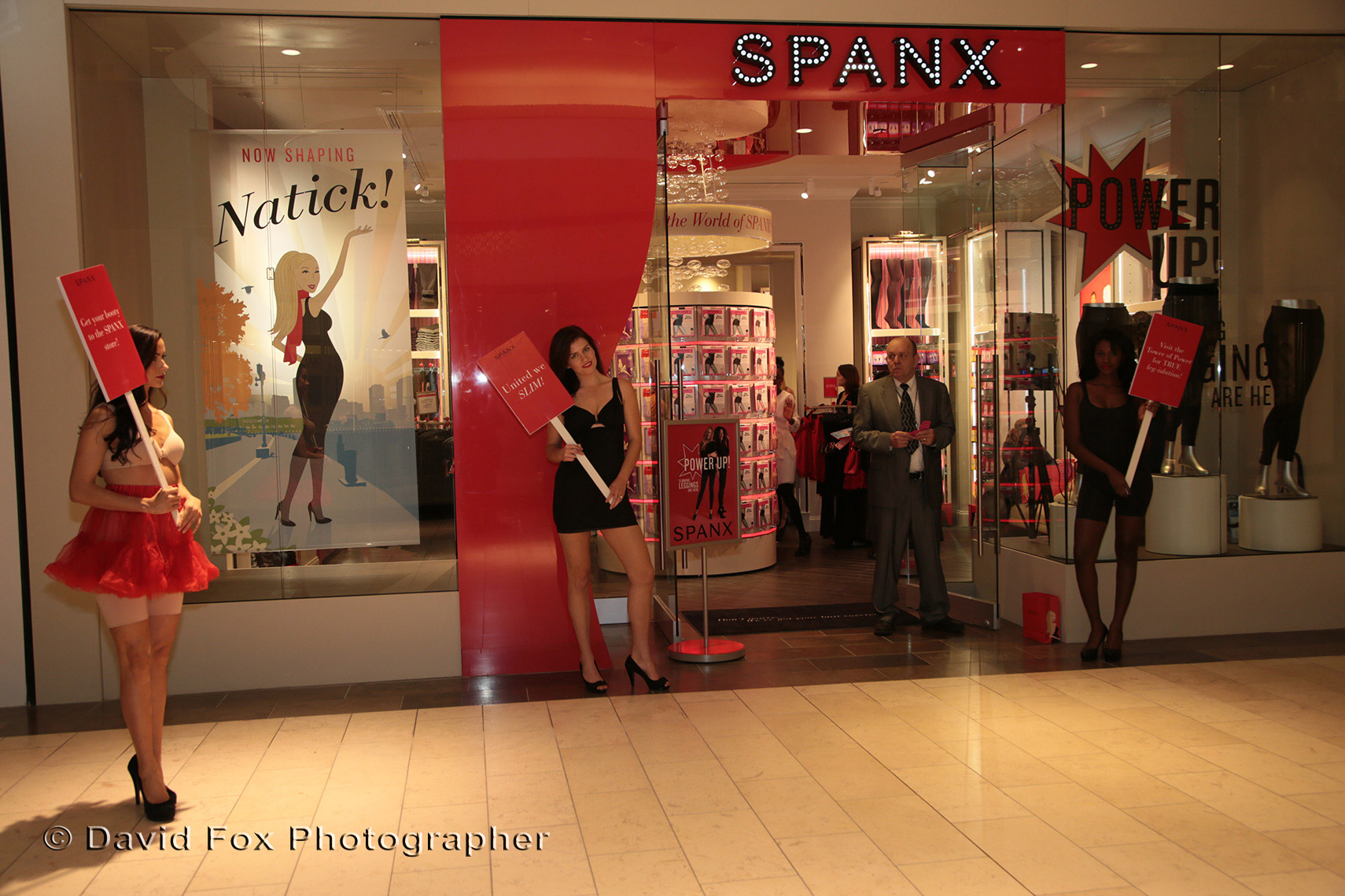 Model in Front of Spanx Natick Store at Grand Opening