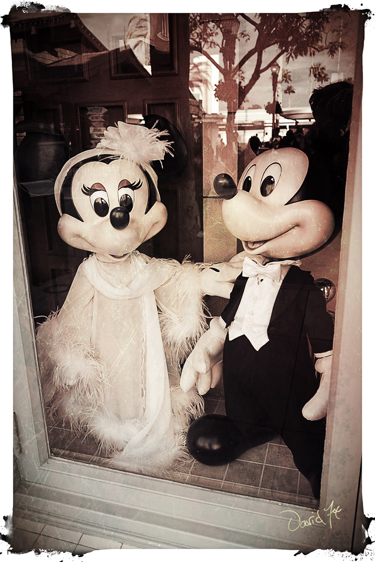 Mickey and Minnie Mouse at the Window