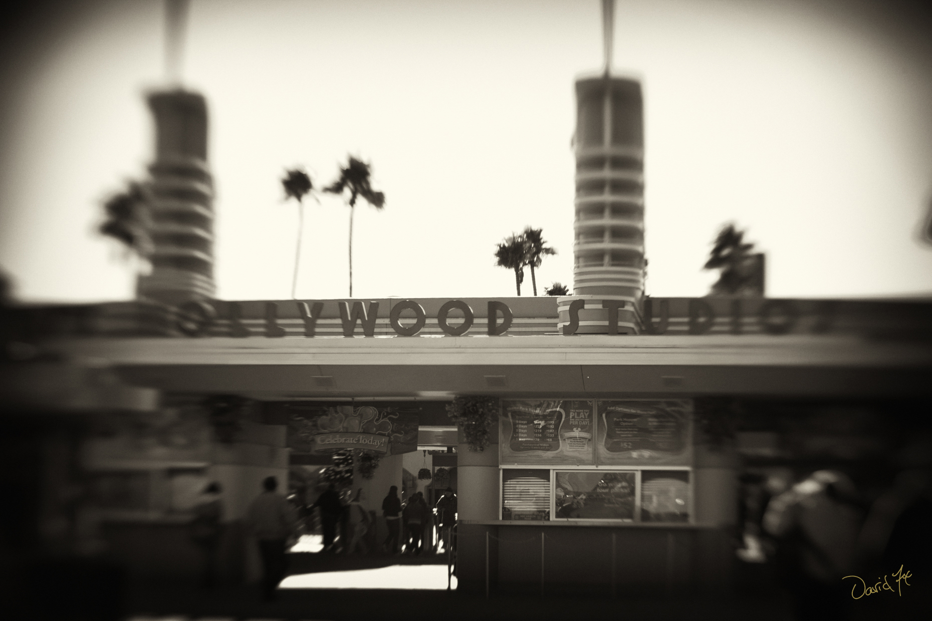 Hollywood Studios Entrance Black and White Lomography