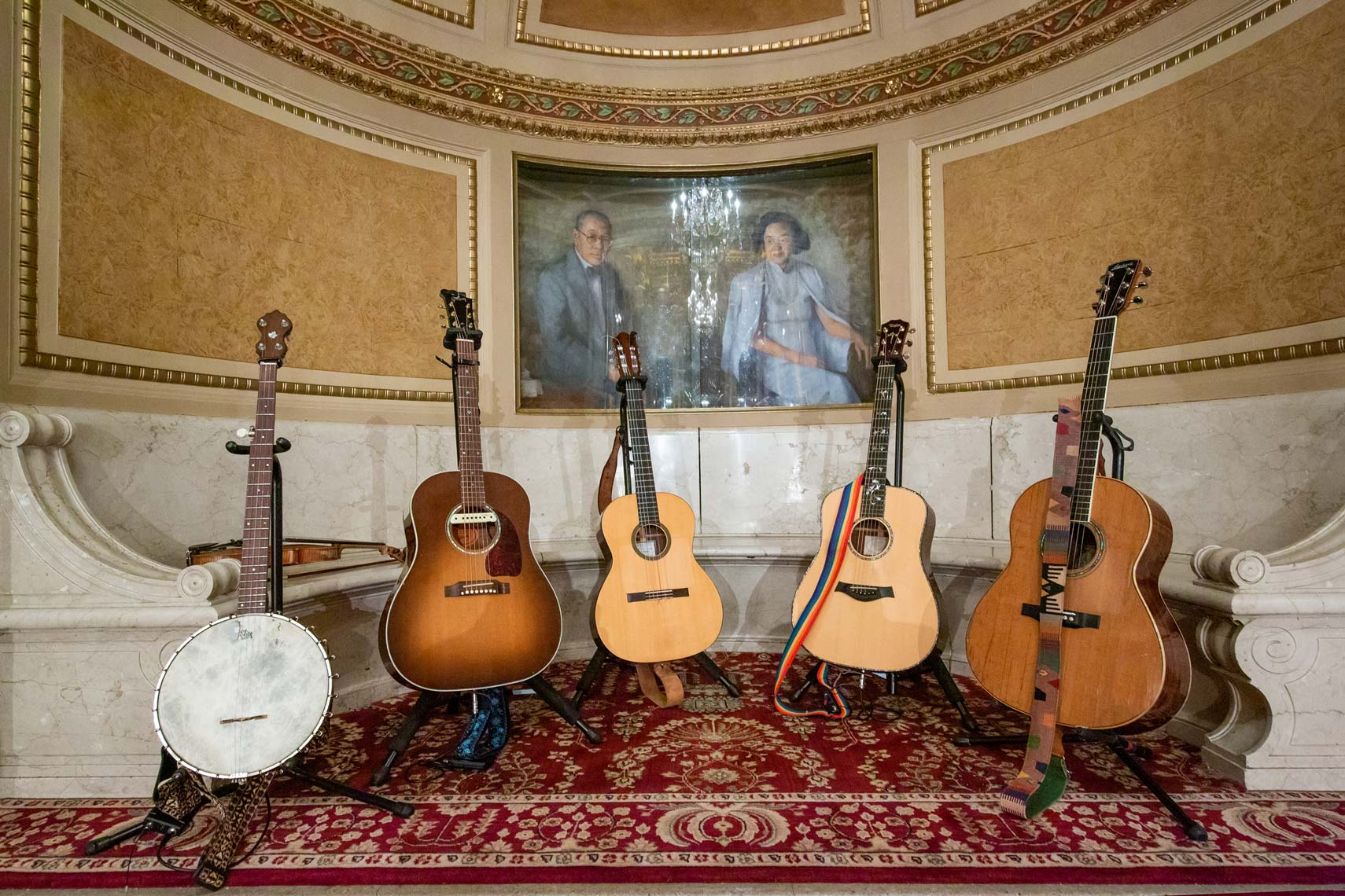 Five guitars and a banjo at the Wang Theater by David Fox Photographer