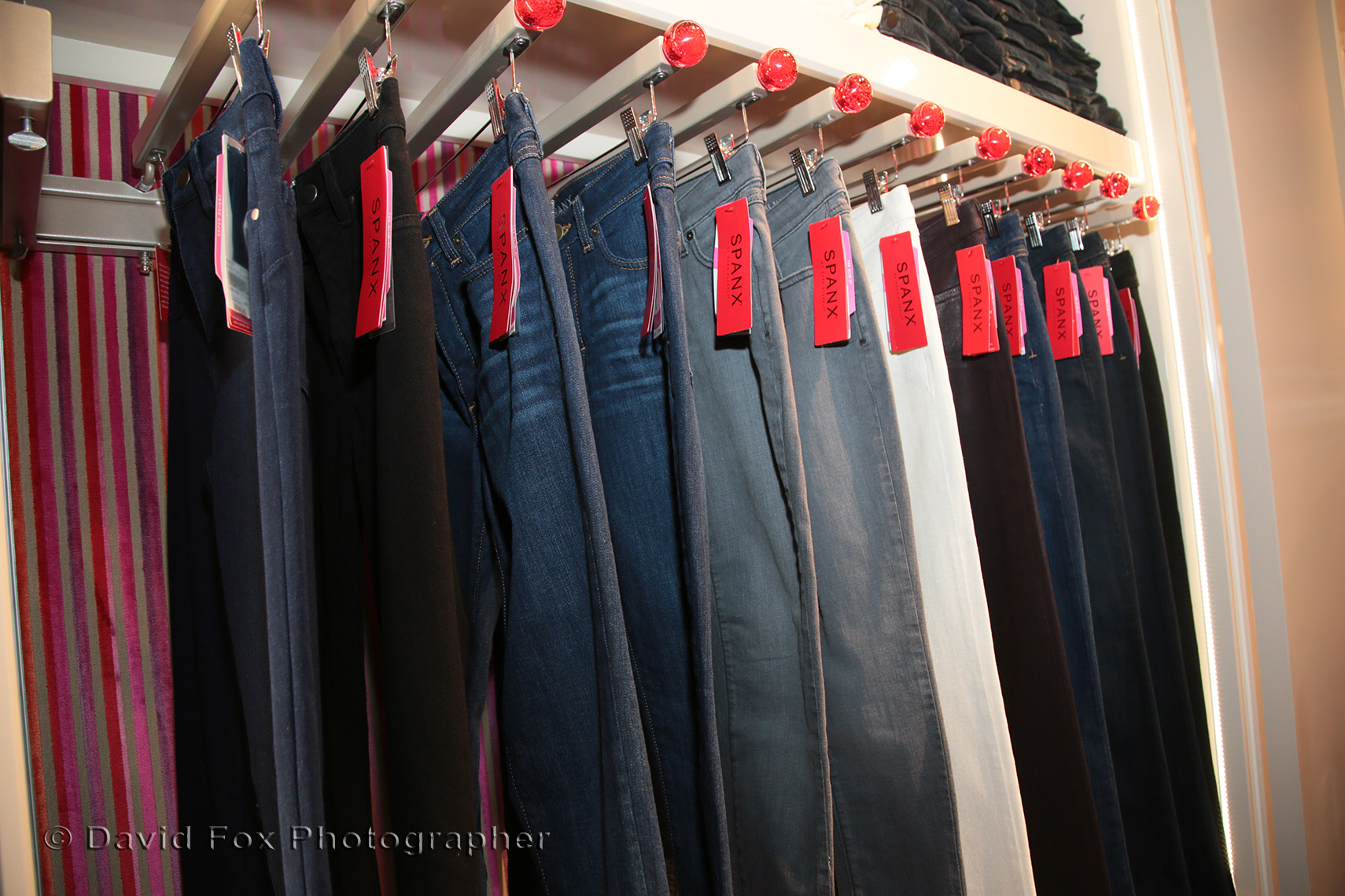 Skinny Jeans on a rack at Spanx Natick Store Opening