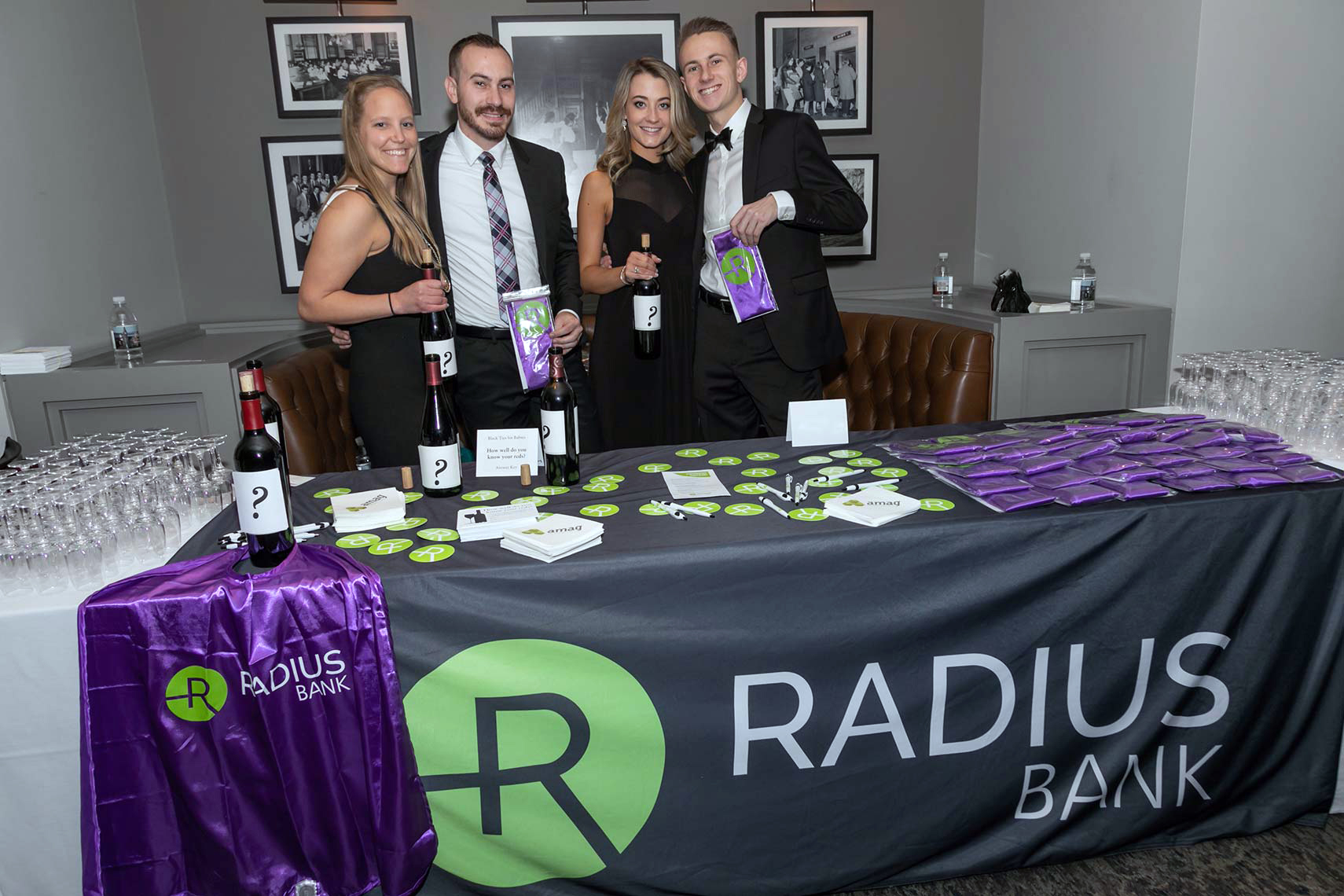 007-Corporate event sponsor Radius Bank presenting a blind wine tasting at the Black Ties for Babies gala