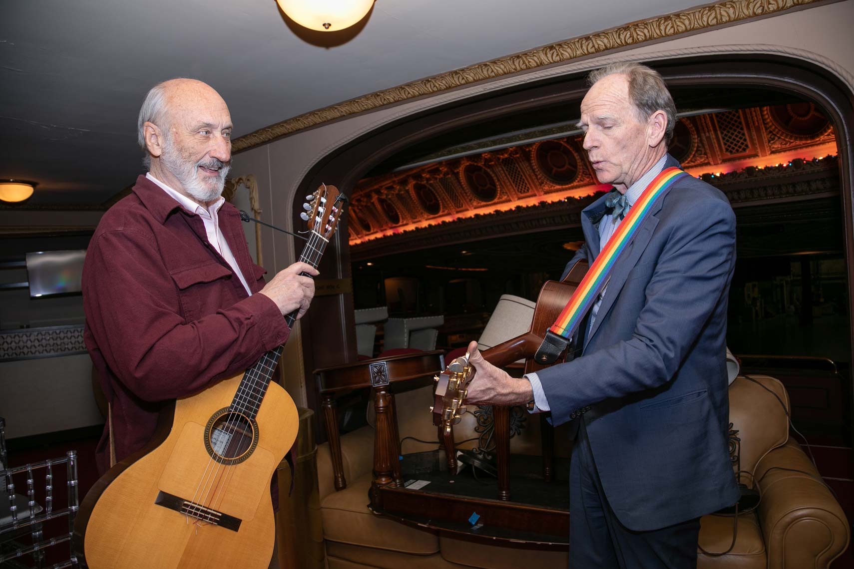 Noel Paul Stookey and Livingston Taylor warm up before the gala