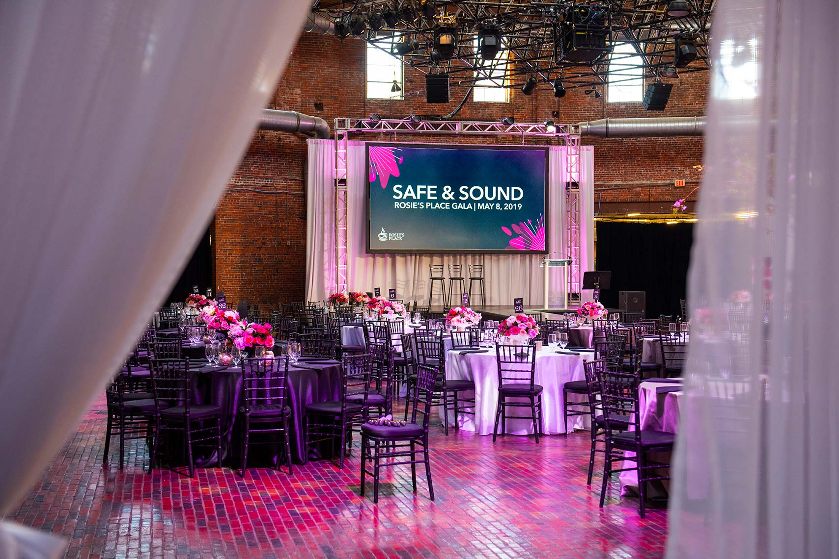 Room decor for the Safe and Sound fundraising gala for Rosie
