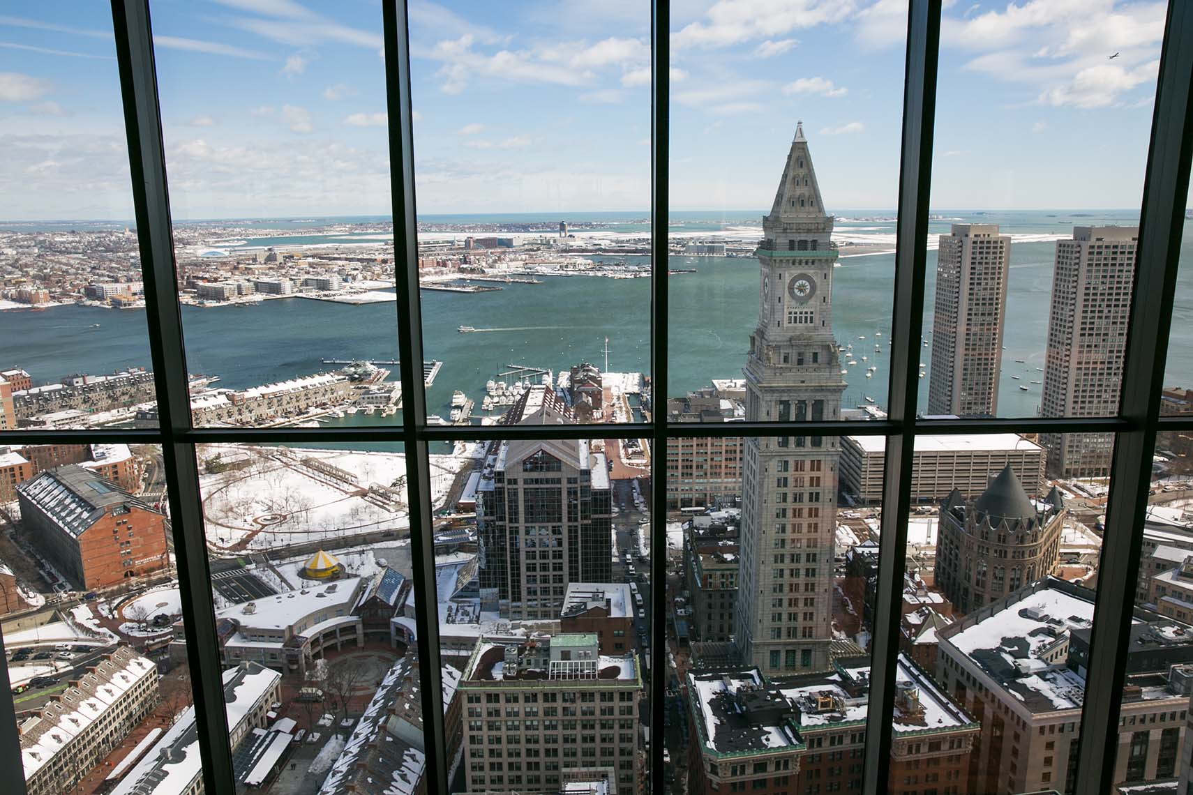 View of the Customs House and Boston Harbor from the State Room