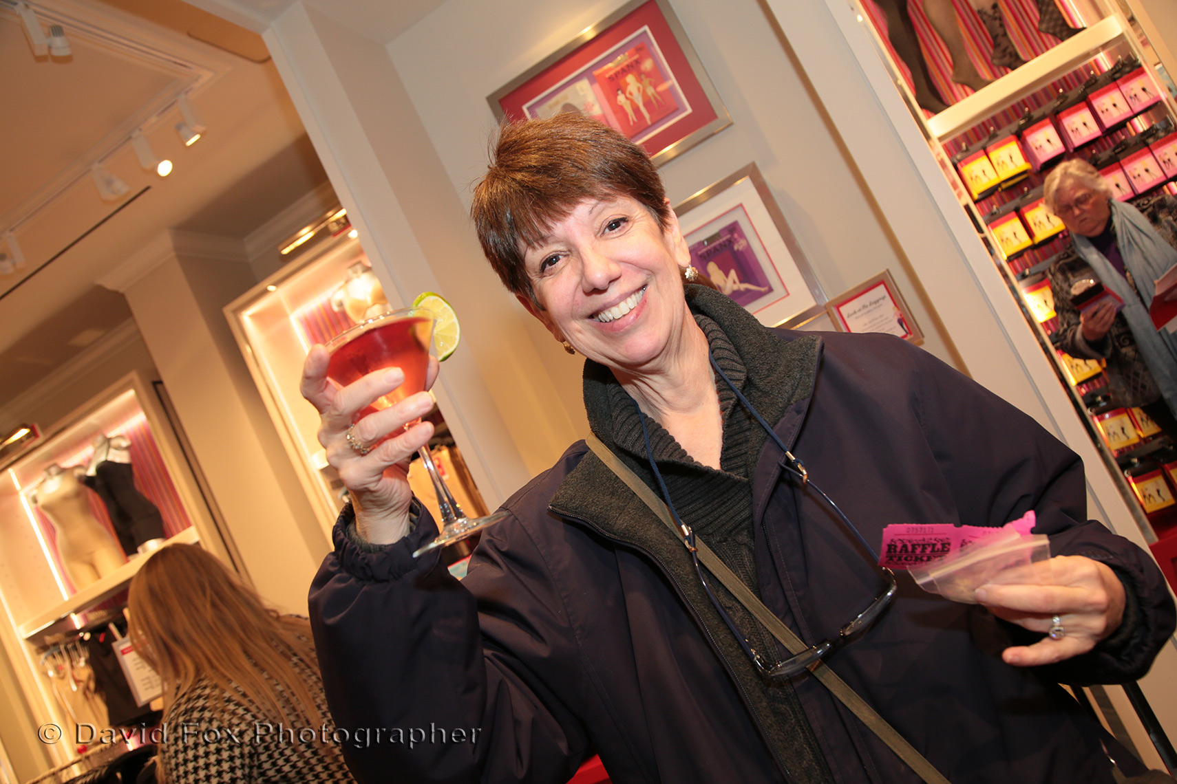 Enjoying a Beverage at the Spanx Natick Store Opening
