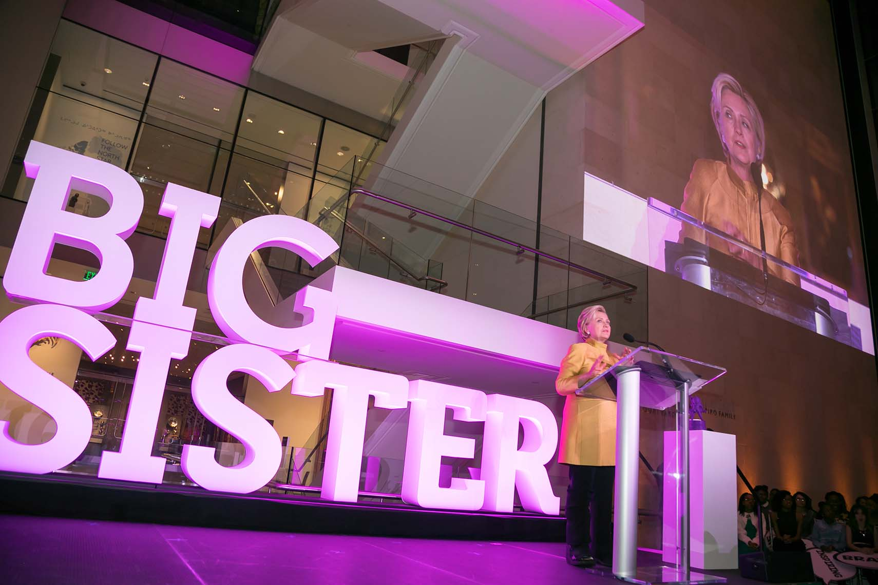 Hillary Clinton on stage at the Big Sister Gala in Boston