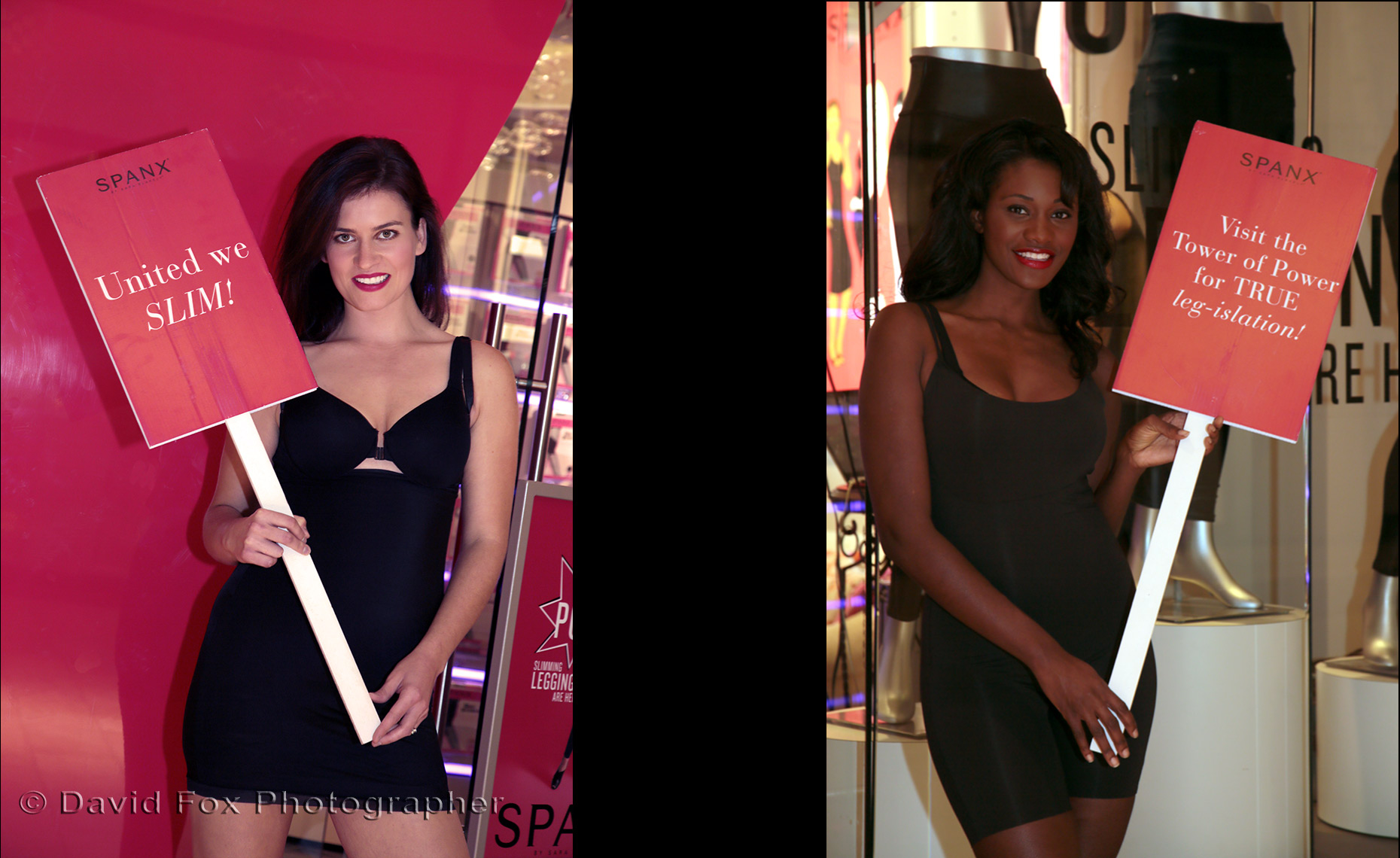 Spanx Models with Signs at Natick Store Grand Opening