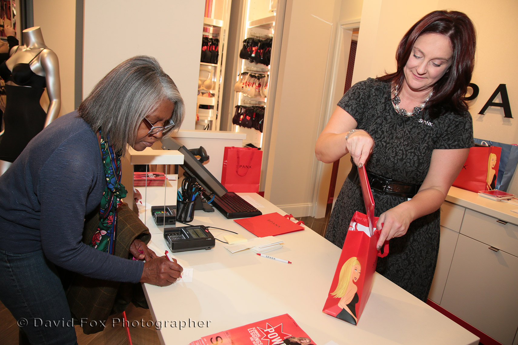 Spanx Employee Bags Purchase at Natick Store Opening