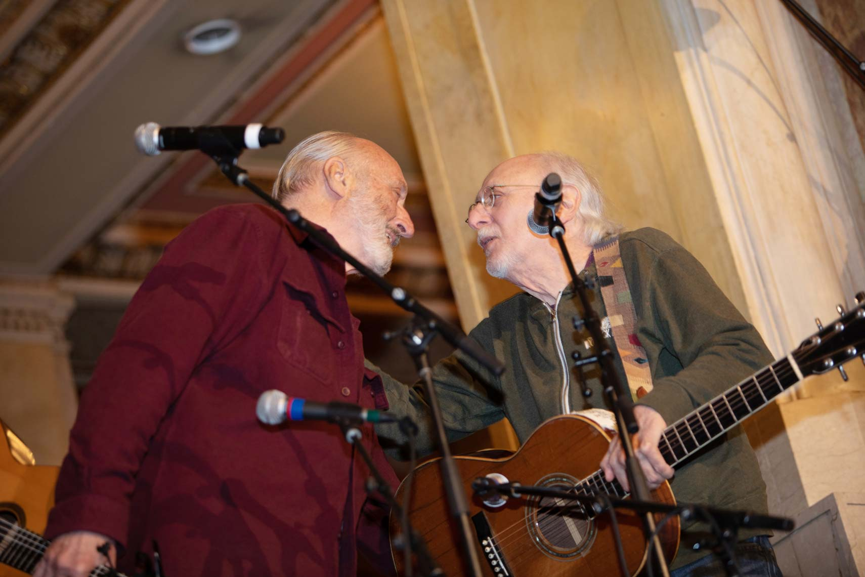 Noel Paul Stookey and Peter Yarrow on stage at the Wang Theatre
