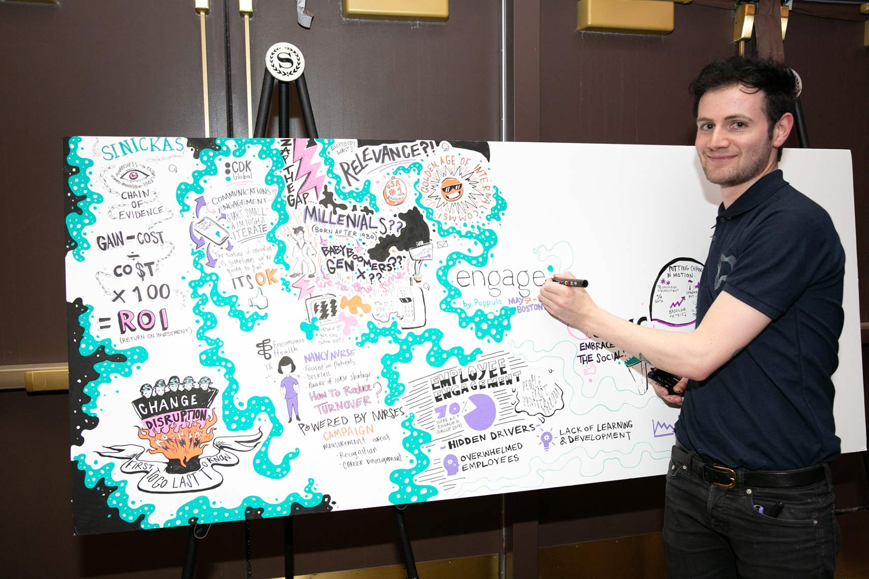 An artist creates a visual of the concepts discussed at Engage Boston