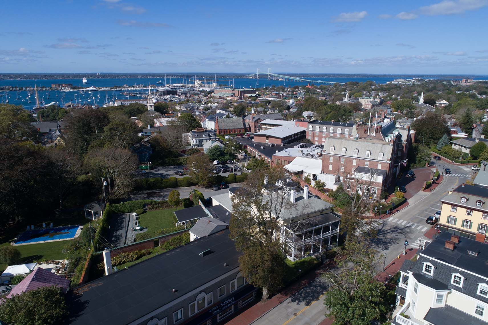 Bellevue Avenue Newport Rhode Island with the Harbor in the Background