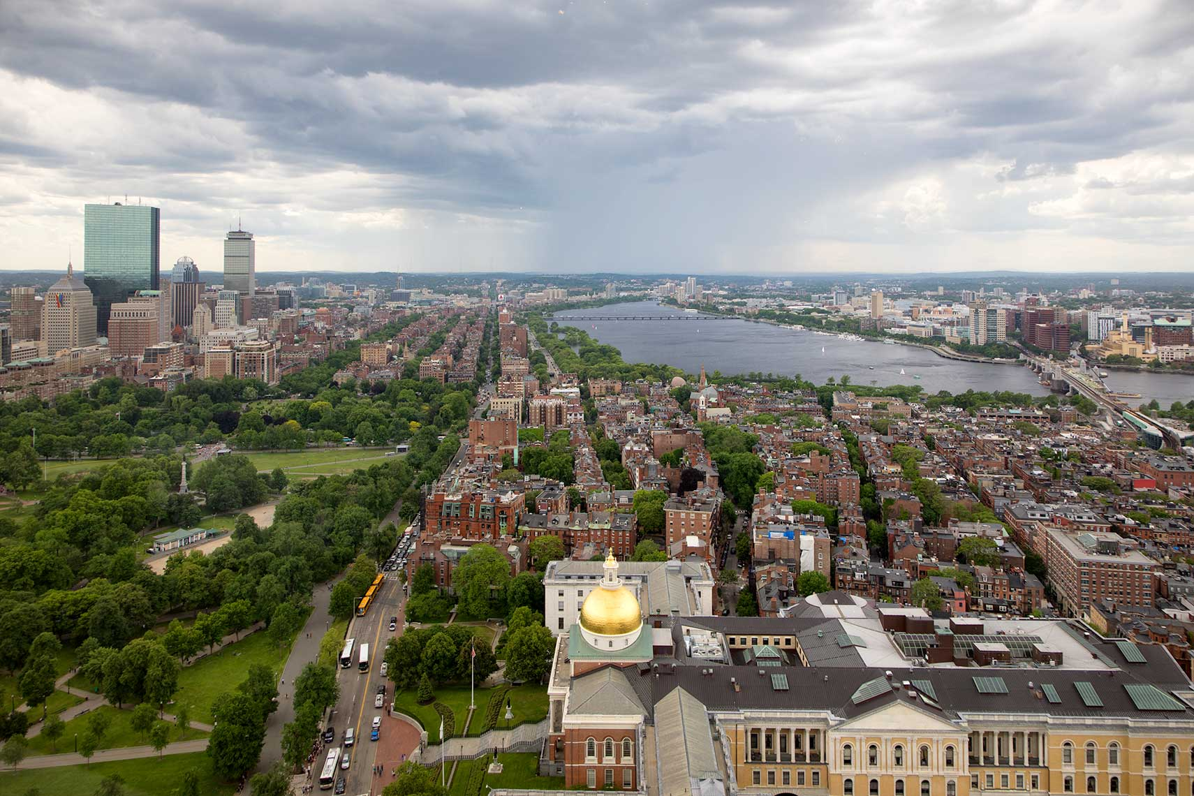 Aerial View of Boston with the Massachusetts State House in foreground