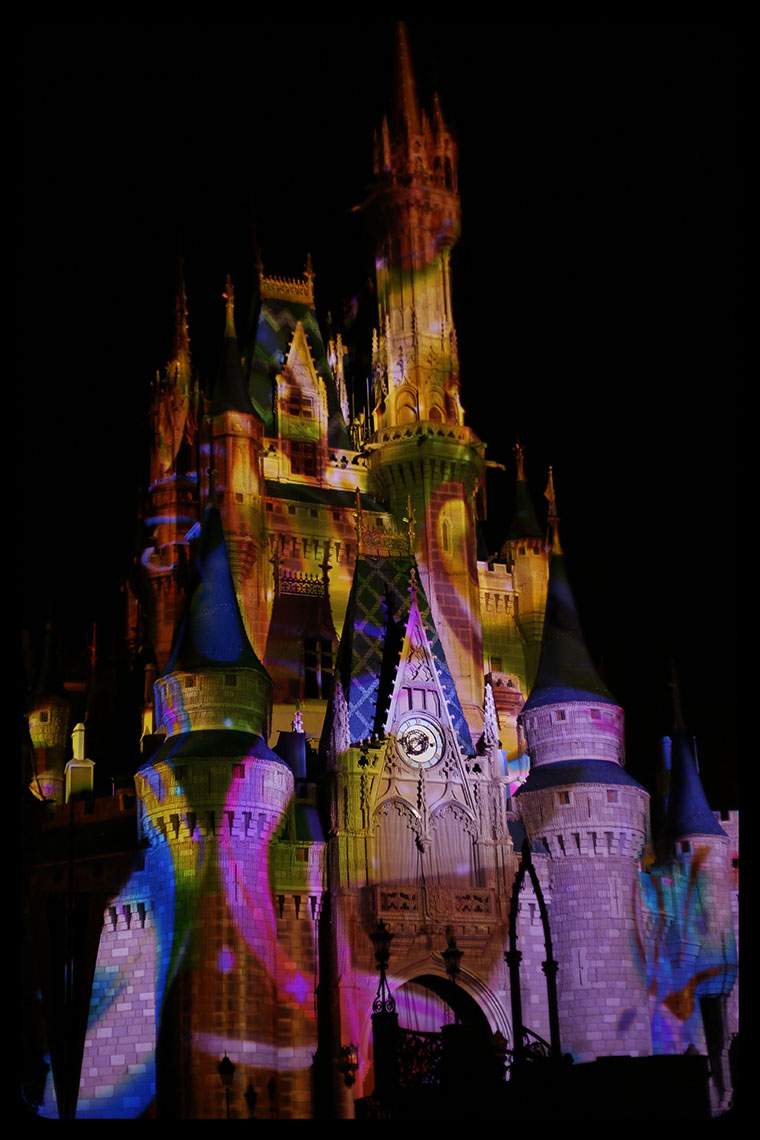 Cinderella-Castle-Colorfully-Lit-Up-at-Walt-Disney-World-Florida