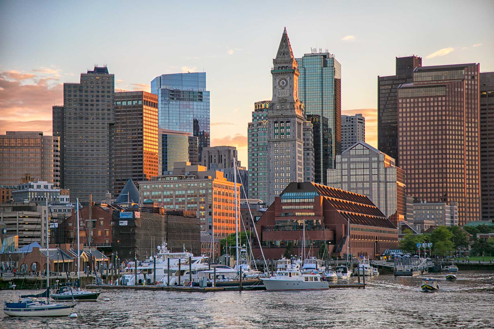 Boston skyline from the harbor with Long Wharf and the Customs House Tower
