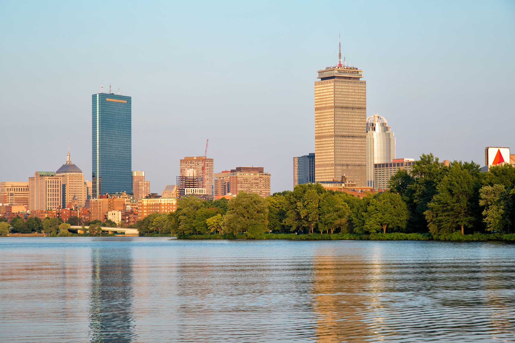 Back Bay with the Hancock Tower and Pru reflecting in the Charles