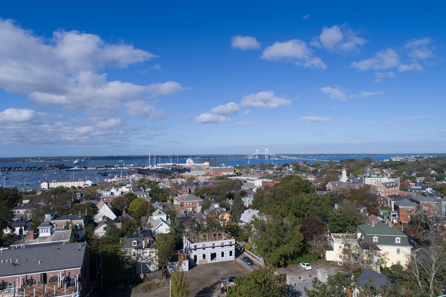 Downtown Newport RI with the Harbor and Jamestown Bridge