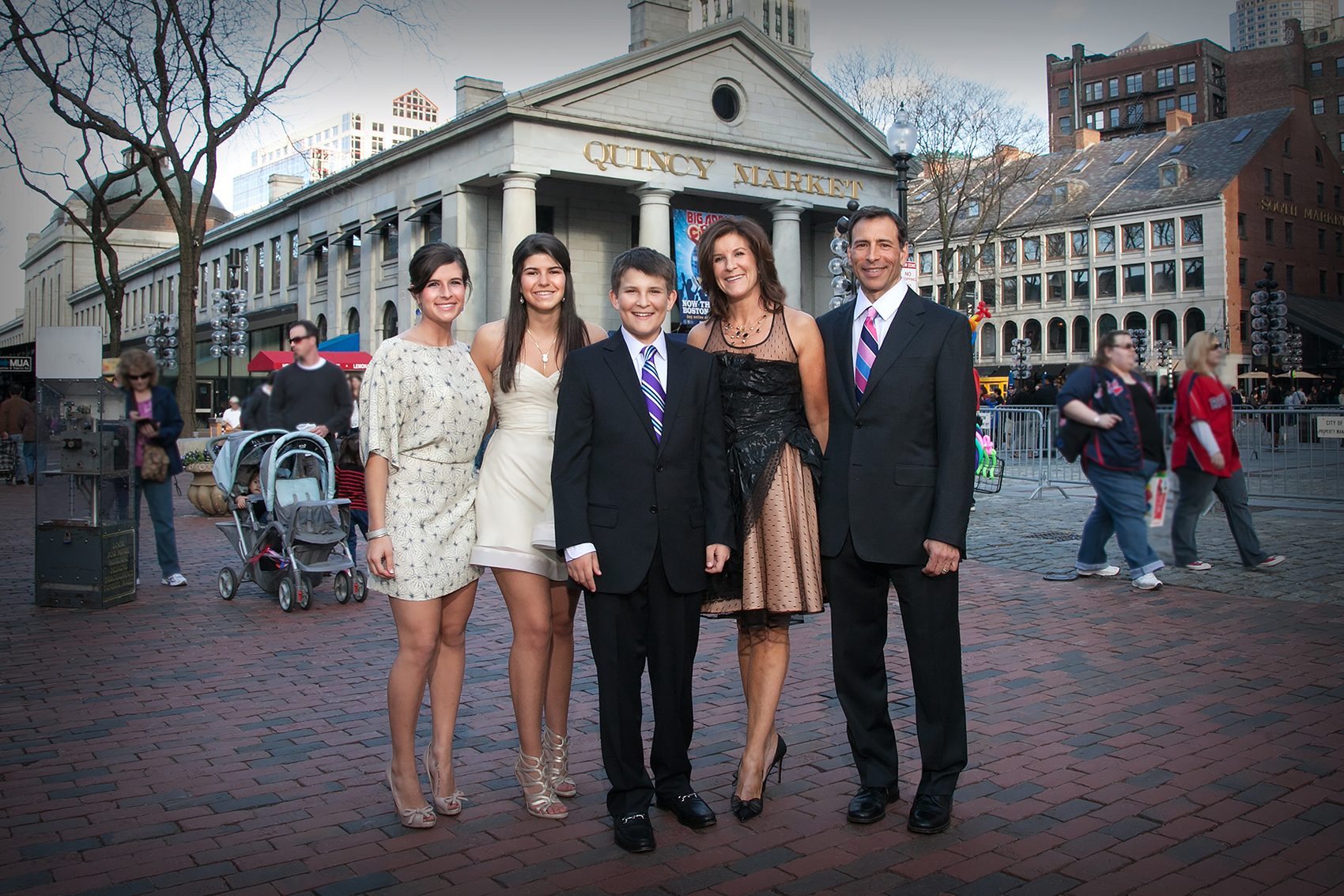 Family Portrait at Faneuil Hall Boston MA.