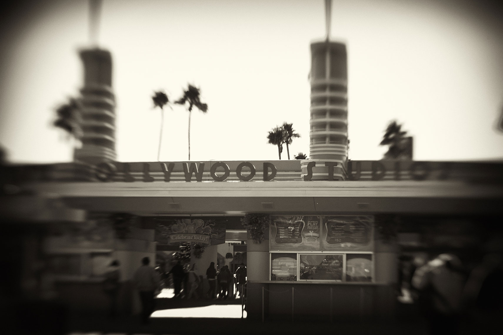 Hollywood-Studios-Entrance-Black-and-White-Lomography