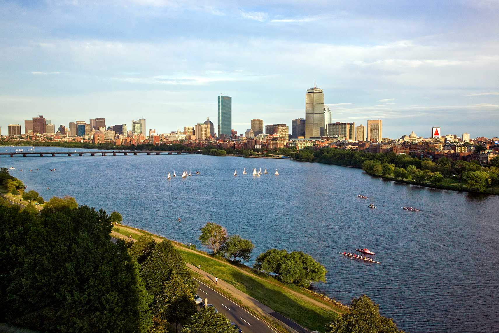 Wide View of the Charles River from Cambridge towards Boston