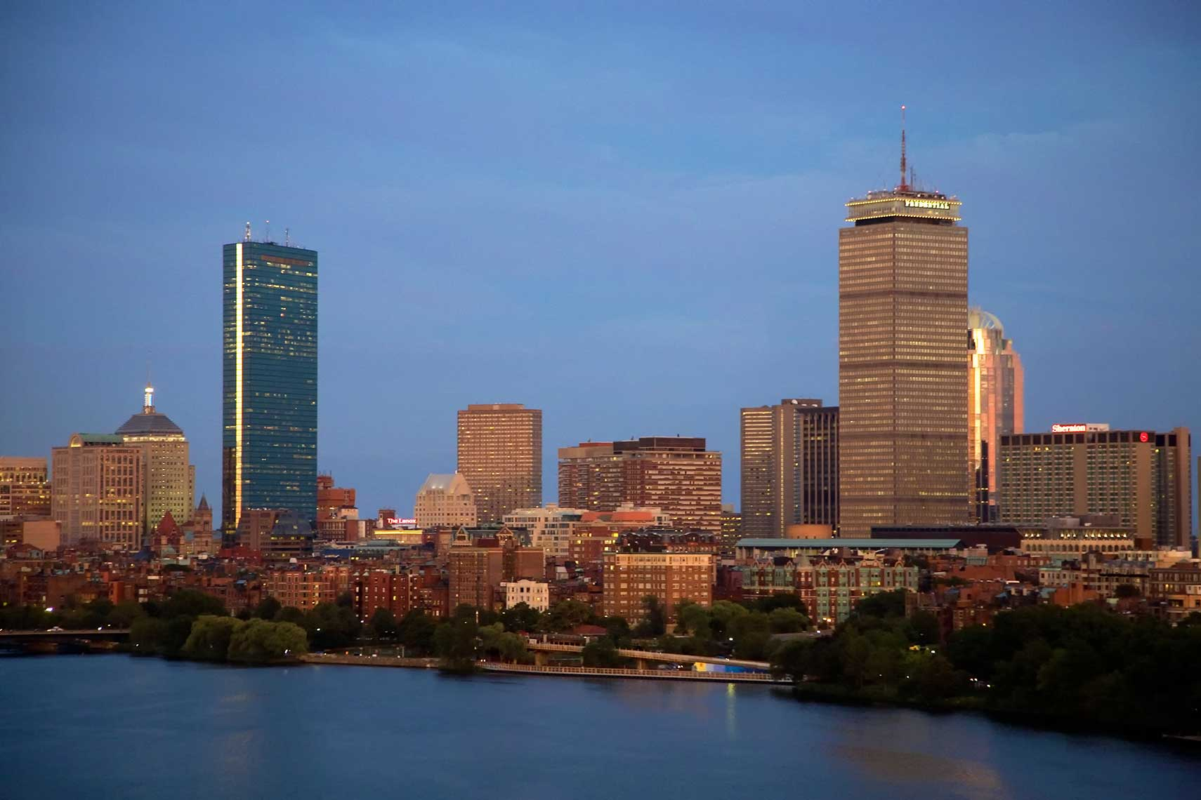 Back Bay Boston from Cambridge at dusk
