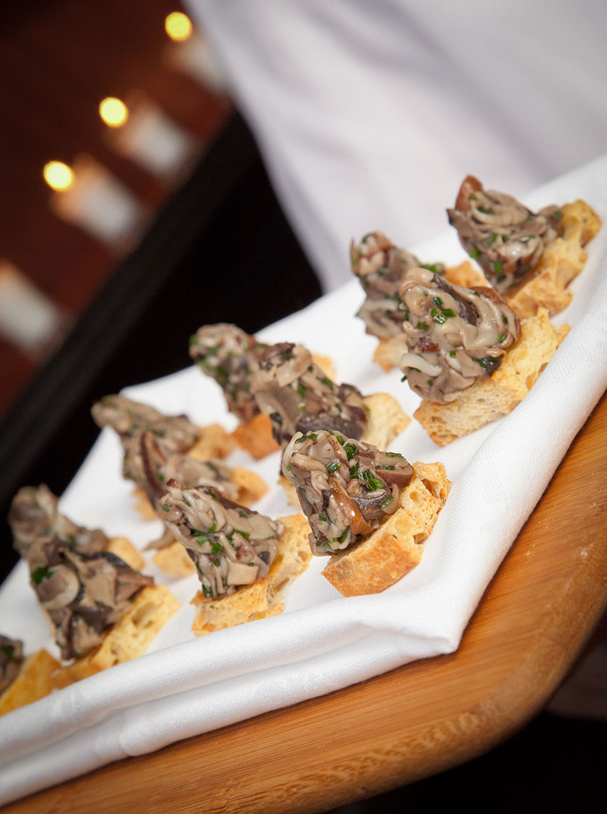 Marinated Mushrooms on a Crostini Appetizer
