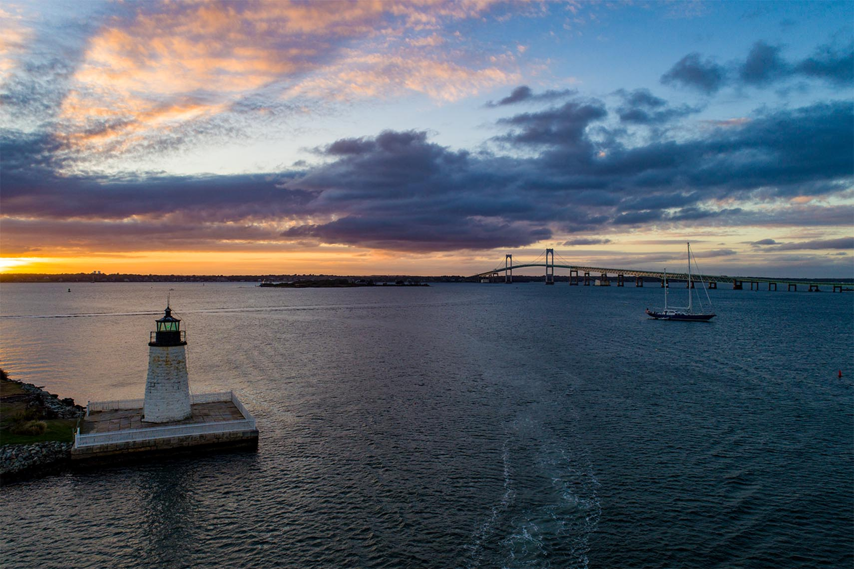 Aerial View of Newport Harbor Lighthouse At Sunset