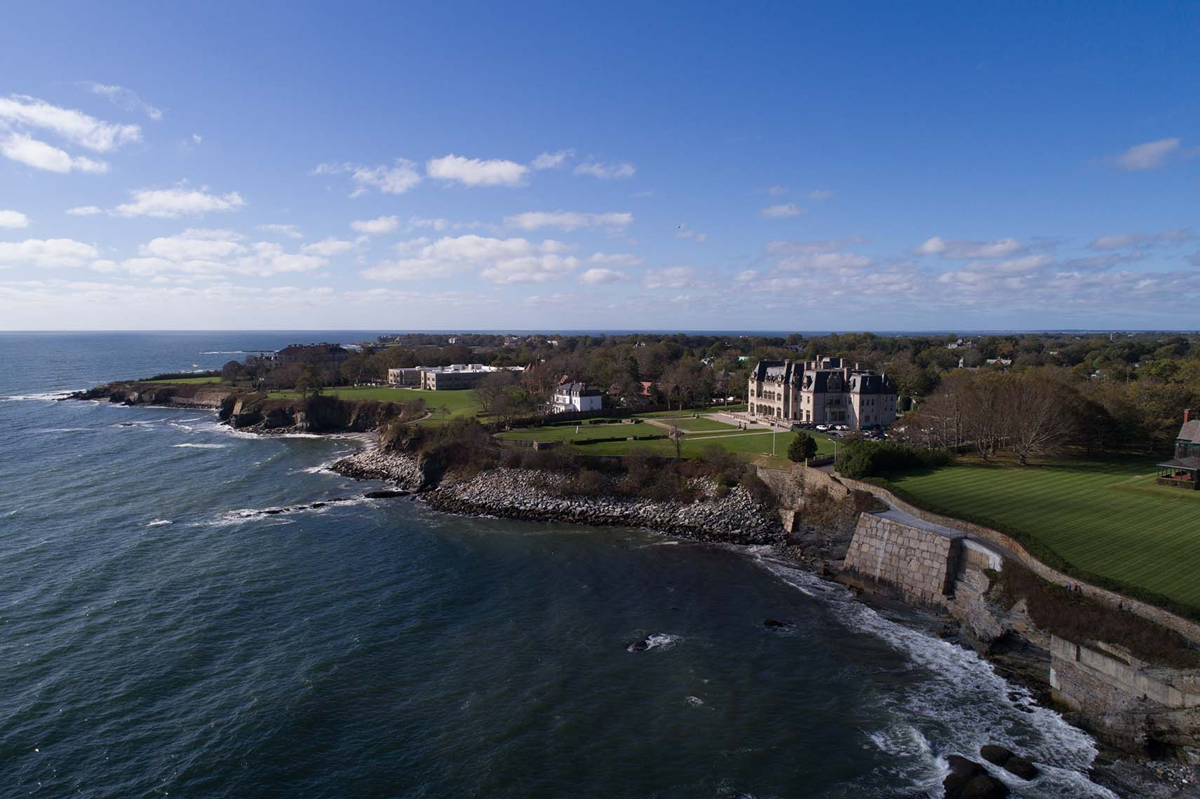 Aerial View of Ochre Court Along the Cliff Walk in Newport RI