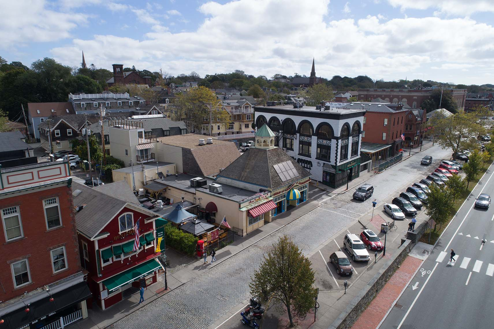 Aerial View of Thames Street in Newport RI