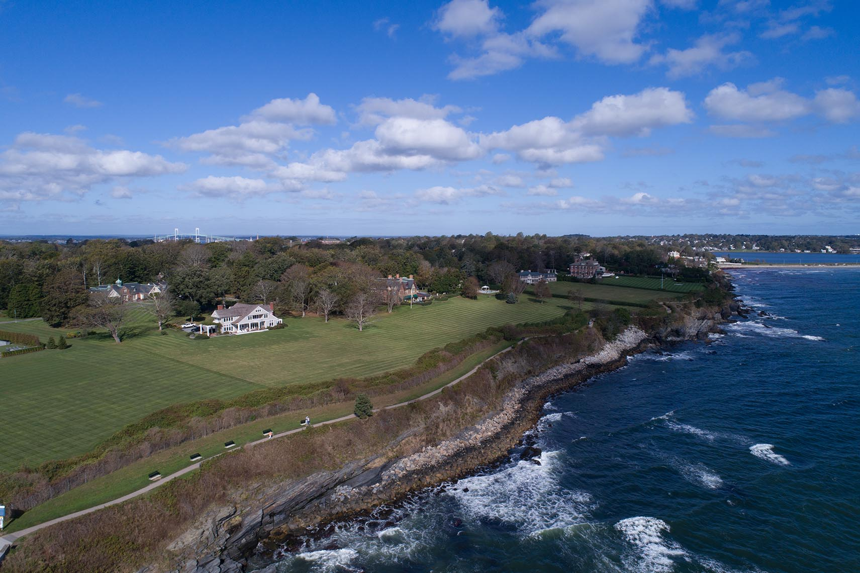 The Famous Cliff Walk Along Sheep Point Cove in Newport RI