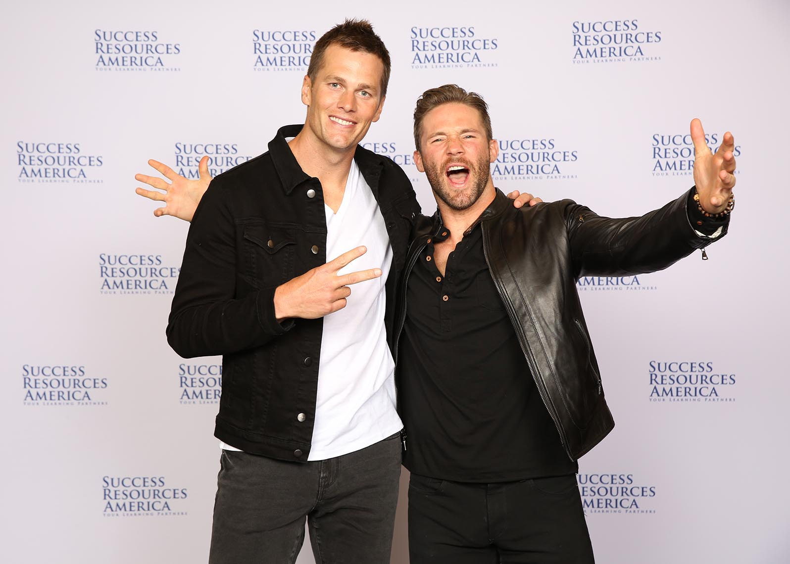 Tom Brady and Julian Edelman Ready for Step and Repeat at NAC Conference