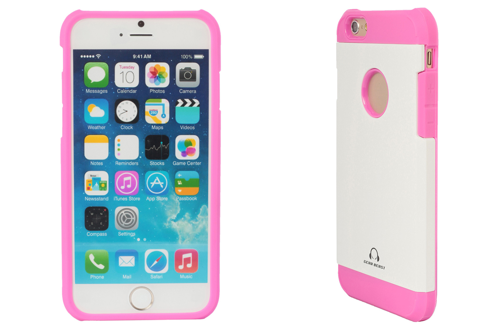 iPhone 6 Case Front and Side Views Pink and White
