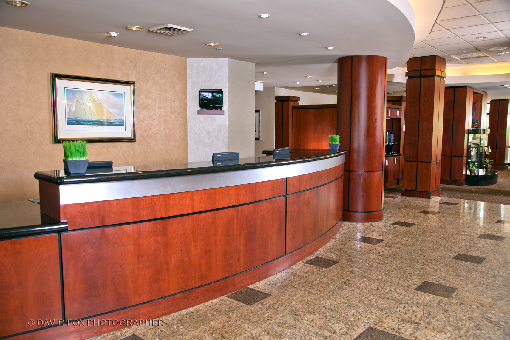 Hotel Reception Desk of the Marriott Natick
